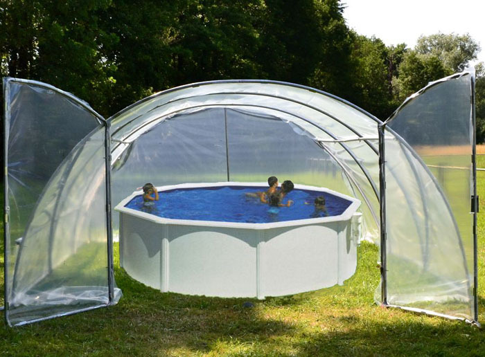 Abri de piscine mini 6m porte double www casado en for Tunnel pour piscine